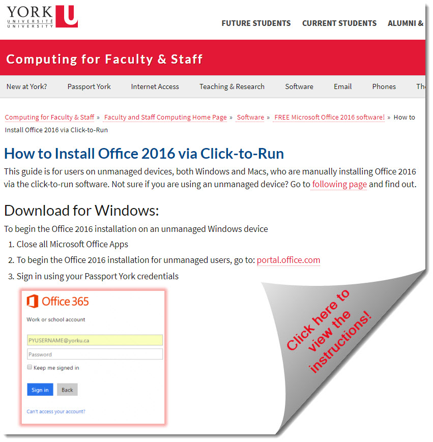 A link to Office 2016 installation instructions